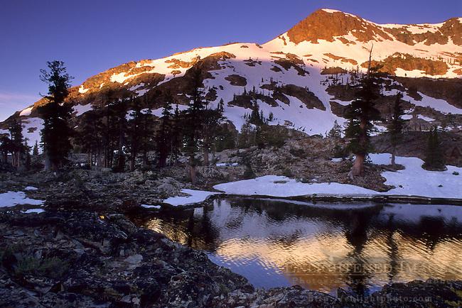 Sunrise light on Jacks Peak, Desolation Wilderness, Tahoe Sierra Nevada mountains, California