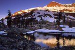 Sunrise light on Jacks Peak, Desolation Wilderness, Tahoe Sierra Nevada mountains, California