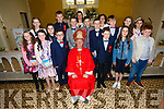 The pupils from Fybough NS with Bishop Ray Browne, Eileen Lovett class teacher and Principal Catherine Ni Mhuircheartaigh  at their Confirmation in Keel on Thursday