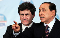 "Il leader del Popolo della Liberta' Silvio Berlusconi, a destra, col candidato sindaco di Roma Gianni Alemanno al termine della manifestazione ""Donne"" per l'Italia, a Roma, 28 marzo 2008..Leader of the People of Freedom center-right coalition Silvio Berlusconi, right, with candidate Rome Mayor Gianni Alemanno at the end of an electoral rally in Rome, 28 march 2008..UPDATE IMAGES PRESS/Riccardo De Luca"
