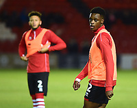 Lincoln City's Duncan Idehen during the pre-match warm-up<br /> <br /> Photographer Andrew Vaughan/CameraSport<br /> <br /> The EFL Checkatrade Trophy Northern Group H - Lincoln City v Wolverhampton Wanderers U21 - Tuesday 6th November 2018 - Sincil Bank - Lincoln<br />  <br /> World Copyright © 2018 CameraSport. All rights reserved. 43 Linden Ave. Countesthorpe. Leicester. England. LE8 5PG - Tel: +44 (0) 116 277 4147 - admin@camerasport.com - www.camerasport.com