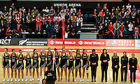 28.10.2014 Silver Ferns in action during the Silver Ferns V England netball match played at the Rotorua Events Centre in Rotorua. Mandatory Photo Credit ©Michael Bradley.