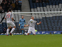 Jim Goodwin controls the ball on his chest in the St Mirren v Celtic Scottish Communities League Cup Semi Final match played at Hampden Park, Glasgow on 27.1.13.
