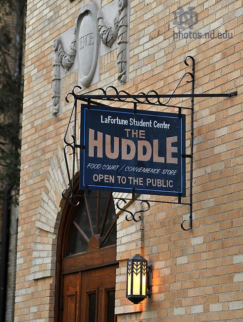Huddle sign outside LaFortune student center..Photo by Matt Cashore/University of Notre Dame