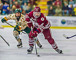 25 November 2014: University of Massachusetts Minutemen Defenseman Ben Gallacher, a Junior from Calgary, Alberta, in action against the University of Vermont Catamounts at Gutterson Fieldhouse in Burlington, Vermont. The Cats defeated the Minutemen 3-1 to sweep the 2-game, home-and-away Hockey East Series. Mandatory Credit: Ed Wolfstein Photo *** RAW (NEF) Image File Available ***