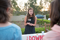Occidental College student Lilian Chin-Martin '17 shares her InternLA experience working at the Downtown Women's Center during the Career Development Center's Reverse Career Fair, Thorne Hall patio, Sept. 3, 2015.<br /> (Photo by Marc Campos, Occidental College Photographer)