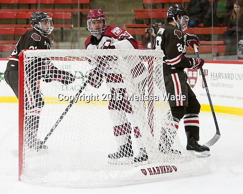 Dane Cooper (Brown - 23), Colin Blackwell (Harvard - 63), Nick Lappin (Brown - 28) - The Harvard University Crimson defeated the Brown University Bears 4-3 to sweep their first round match up in the ECAC playoffs on Saturday, March 7, 2015, at Bright-Landry Hockey Center in Cambridge, Massachusetts.