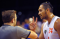 Tai Wesley makes a point during the national basketball league match between Wellington Saints and Southland Sharks at TSB Bank Arena, Wellington, New Zealand on Monday, 1 June 2015. Photo: Dave Lintott / lintottphoto.co.nz