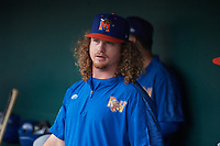 Midland RockHounds pitcher Grant Holmes (14) during a Texas League game against the Frisco RoughRiders on May 21, 2019 at Dr Pepper Ballpark in Frisco, Texas.  (Mike Augustin/Four Seam Images)