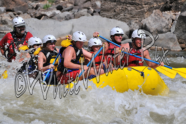 Nova Guides crashing Man-Eater Rapid while running Shoshone in Glenwood Canyon on the Colorado River, August 16, 2013, Afternoon Trip, PM, Glenwood Springs, Colorado - WhiteWater-Pix | River Adventure Photography - by MADOGRAPHER Doug Mayhew