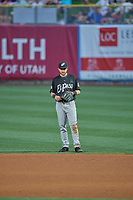 Matthew Batten (15) first baseman of the El Paso Chihuahuas on defense against the Salt Lake Bees at Smith's Ballpark on August 17, 2019 in Salt Lake City, Utah. The Bees defeated the Chihuahuas 5-4. (Stephen Smith/Four Seam Images)