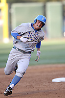 Pat Valaika #10 of the UCLA Bruins runs the bases against the TCU Horned Frogs at the Los Angeles super regionals at Jackie Robinson Stadium on June 9, 2012 in Los Angeles,California. UCLA defeated TCU 4-1.(Larry Goren/Four Seam Images)
