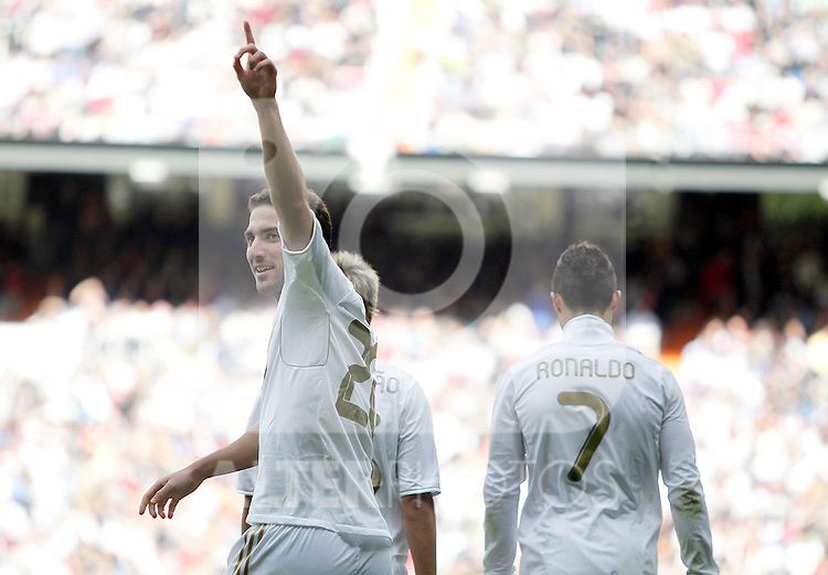 Real Madrid's Gonzalo Higuain celebrates during La Liga Match. November 06, 2011. (ALTERPHOTOS/Alvaro Hernandez)
