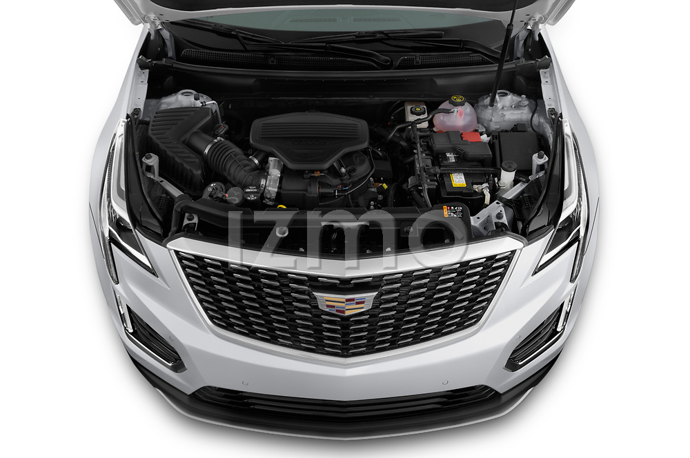 Car Stock 2020 Cadillac XT5 Premium-Luxury 5 Door SUV Engine  high angle detail view