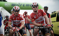 Kris Boeckmans (BEL/Lotto-Soudal) &amp; Andr&eacute; Greipel (DEU/Lotto-Soudal) at the start <br /> <br /> stage 3: Buchten - Buchten (NLD/210km)<br /> 30th Ster ZLM Toer 2016
