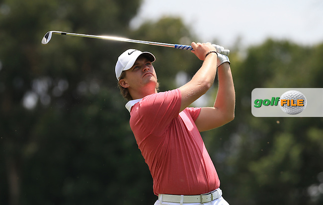 Tom Lewis (ENG) plays second shot on the 17th on the West Course during Round 2 of the 2016 Joburg Open Celebrating 10 years, played at the Royal Johannesburg and Kensington Golf Club, Gauteng, Johannesburg, South Africa.  15/01/2016. Picture: Golffile | David Lloyd<br /> <br /> All photos usage must carry mandatory copyright credit (&copy; Golffile | David Lloyd)