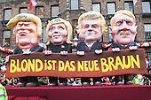 Düsseldorf, Deutschland. 27 February 2017. Blond is the new brown (fascism). Carnival parade on Shrove Monday (Rosenmontag) in Düsseldorf, North Rhine-Westphalia, Germany.