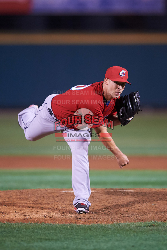 Columbus Clippers relief pitcher Austin Adams (10) delivers a pitch during a game against the Rochester Red Wings on June 14, 2016 at Frontier Field in Rochester, New York.  Rochester defeated Columbus 1-0.  (Mike Janes/Four Seam Images)