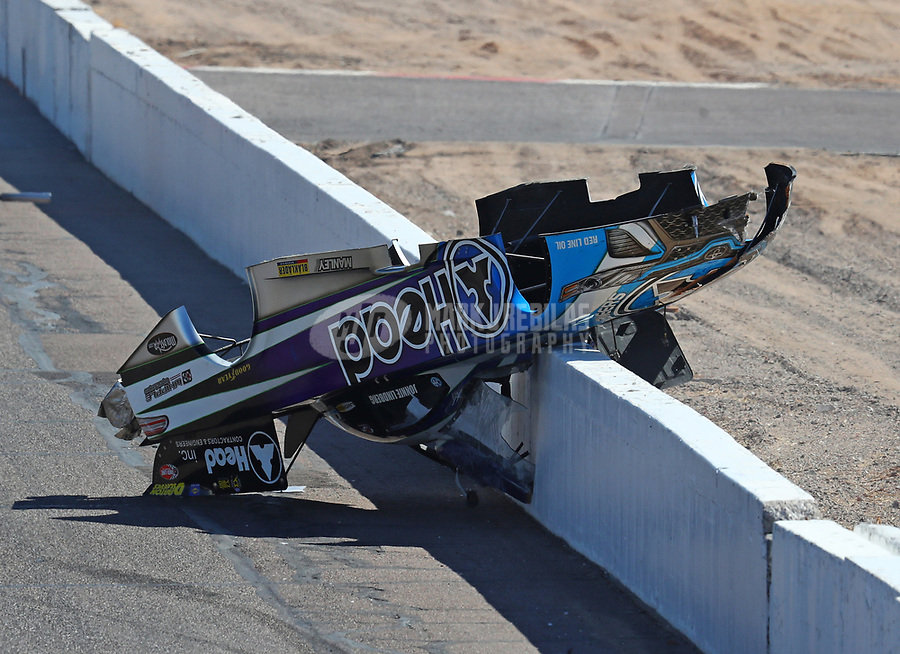 Feb 25, 2018; Chandler, AZ, USA; The body from the car of NHRA funny car driver Jonnie Lindberg after crashing during the Arizona Nationals at Wild Horse Pass Motorsports Park. Mandatory Credit: Mark J. Rebilas-USA TODAY Sports