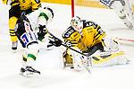 Stockholm 2014-11-16 Ishockey Hockeyallsvenskan AIK - IF Bj&ouml;rkl&ouml;ven :  <br /> AIK:s m&aring;lvakt Robin Rahm r&auml;ddar en m&aring;lchans f&ouml;r Bj&ouml;rkl&ouml;vens Stefan Andersson under matchen mellan AIK och IF Bj&ouml;rkl&ouml;ven <br /> (Foto: Kenta J&ouml;nsson) Nyckelord:  AIK Gnaget Hockeyallsvenskan Allsvenskan Hovet Johanneshov Isstadion Bj&ouml;rkl&ouml;ven L&ouml;ven IFB