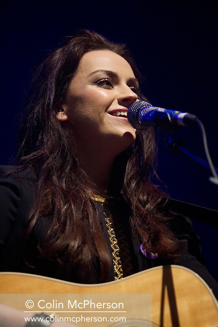 Scottish Amy Macdonald appearing at A Night for Scotland, a concert at the Usher Hall, Edinburgh staged by supporters of Scottish independence. The concert featured a number of top Scottish musicians and bands all of whom were supporting Scotland's independence from the rest of the United Kingdom. On the 18th of September 2014, the people of Scotland voted in a referendum to decide whether the country's union with England should continue or Scotland should become an independent nation once again.
