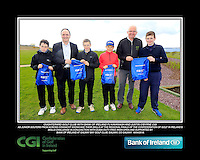 Oughterard Golf Club Boys with PJ Kavanagh from Bank of Ireland and Justin O'Byrne from CGI.<br /> Junior golfers from across connacht practicing their skills at the regional finals of the Dubai Duty Free Irish Open Skills Challenge supported by Bank of Ireland at Galway Bay golf club, Galway, Co Galway. 2/04/2016.<br /> Picture: Golffile | Fran Caffrey<br /> <br /> <br /> All photo usage must carry mandatory copyright credit (© Golffile | Fran Caffrey)