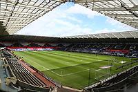 5th July 2020; Liberty Stadium, Swansea, Glamorgan, Wales; English Football League Championship, Swansea City versus Sheffield Wednesday; An empty Liberty Stadium awaits the players for warm up