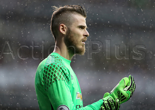 May 14th 2017,White Hart Lane, Tottenham, London, England; EPL Premier League football, Tottenham Hotspur versus Manchester United; Goalkeeper David De Gea of Manchester United looks on