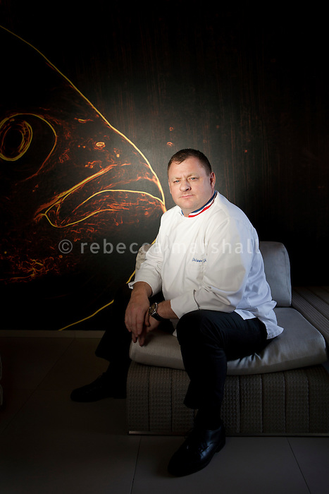 Philippe Jégo, Michelin-starred head chef of restaurant 'Les Pêcheurs' at the Cap d'Antibes Beach Hotel, poses for the photographer in one of the hotel's suites, Antibes, France, 26 April 2012. Philippe was awarded 'Meilleur Ouvrier de France' in 2000.