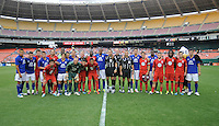 DC United and Everton pose for a team photo.  Everton defeated DC United 3-1 in a international friendly ,at RFK Stadium, Saturday July 23, 2011.