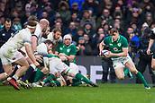 17th March 2018, Twickenham, London, England; NatWest Six Nations rugby, England versus Ireland; Garry Ringrose of Ireland runs towards Sam Simmonds of England