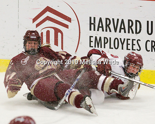 Danielle Welch (BC - 17), Kathryn Farni (Harvard - 8) - The Harvard University Crimson defeated the Boston College Eagles 5-0 in their Beanpot semi-final game on Tuesday, February 2, 2010 at the Bright Hockey Center in Cambridge, Massachusetts.