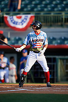 Florida Fire Frogs designated hitter Omar Obregon (2) at bat during a game against the St. Lucie Mets on April 19, 2018 at Osceola County Stadium in Kissimmee, Florida.  St. Lucie defeated Florida 3-2.  (Mike Janes/Four Seam Images)