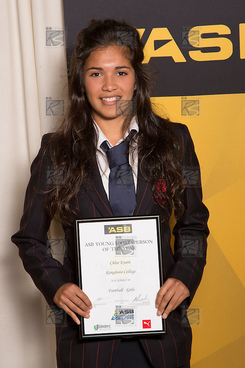Girls Football winner Chloe Knott from Rangitoto College. ASB College Sport Young Sportsperson of the Year Awards 2012, held at Ellerslie Event Centre on Thursday November 22nd 2012.