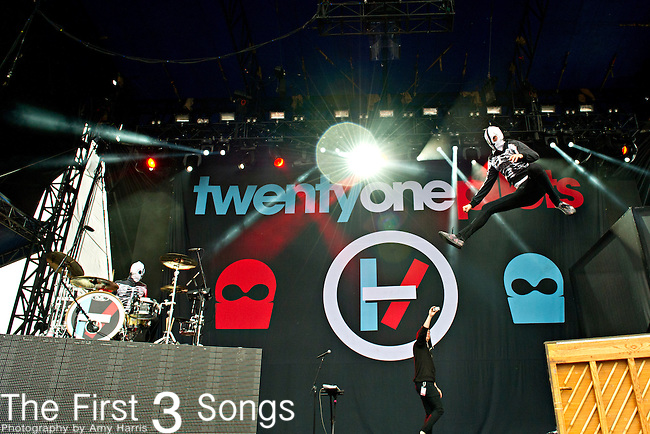 Tyler Joseph and Josh Dun of Twenty One Pilots perform during the Forecastle Music Festival at Waterfront Park in Louisville, Kentucky.