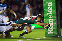 Ben Youngs of Leicester Tigers scores a try in the first half. European Rugby Champions Cup match, between Leicester Tigers and Castres Olympique on October 21, 2017 at Welford Road in Leicester, England. Photo by: Patrick Khachfe / JMP