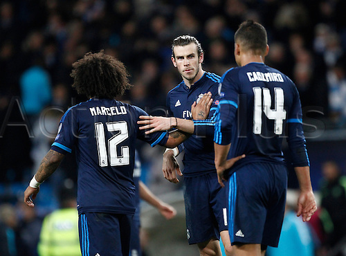 26.04.2016. The Etihad, Manchester, England. UEFA Champions League. Manchester City versus Real Madrid. Real Madrid's Welsh midfielder Gareth Bale with Real Madrid defender Marcelo and Real Madrid midfielder Casemiro at the final whistle after they earn a 0-0 draw.
