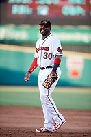 Rochester Red Wings first baseman Kennys Vargas (30) during a game against the Pawtucket Red Sox on May 19, 2018 at Frontier Field in Rochester, New York.  Rochester defeated Pawtucket 2-1.  (Mike Janes/Four Seam Images)