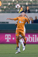 Puerto Rico Islanders David Foley (7) attempts a headshot. The Puerto Rico Islanders defeated the LA Galaxy 4-1 during CONCACAF Champions League group play at Home Depot Center stadium in Carson, California on Tuesday July 27, 2010.