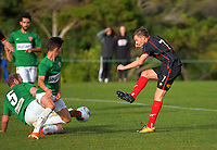 Action from the Capital Women's Premier League football match between Wellington United Sapphires and Victoria University Women's Firsts at Newtown Park in Wellington, New Zealand on Sunday, 28 June 2020. Photo: Dave Lintott / lintottphoto.co.nz