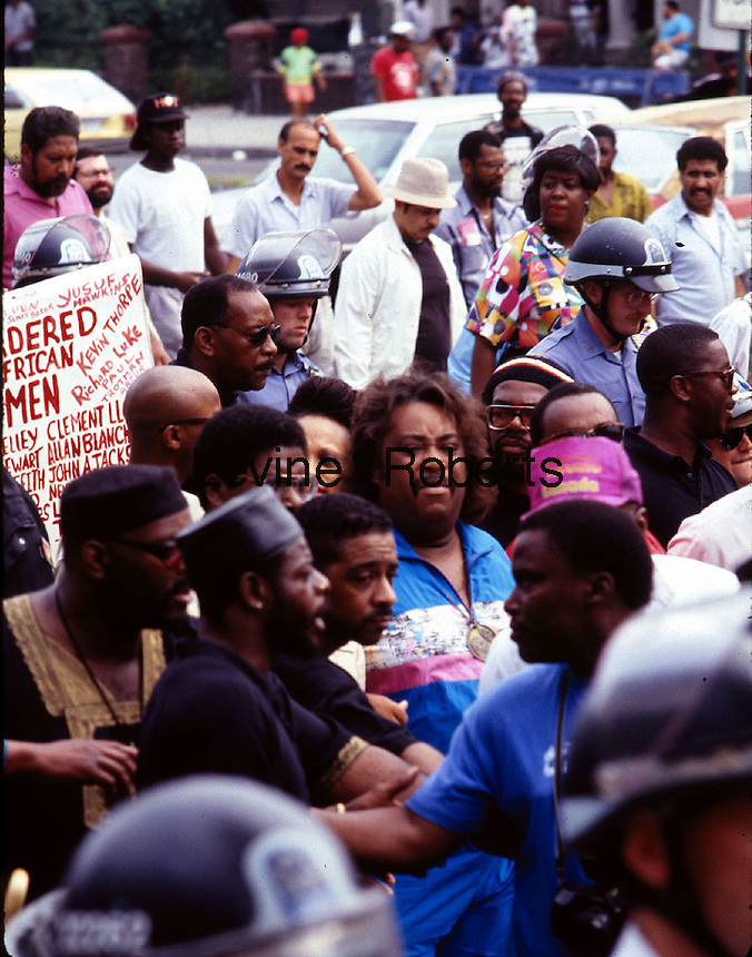 IN ADVANCE FOR 20TH ANNIVERSARY OF CROWN HEIGHTS RIOTS IN BROOKLYN, NY ON AUGUST 19, 1991. The Rev. Al Sharpton marches through Crown Heights Brooklyn in August 1991 in a rally related to the death of Gavin Cato. (© Richard B. Levine)