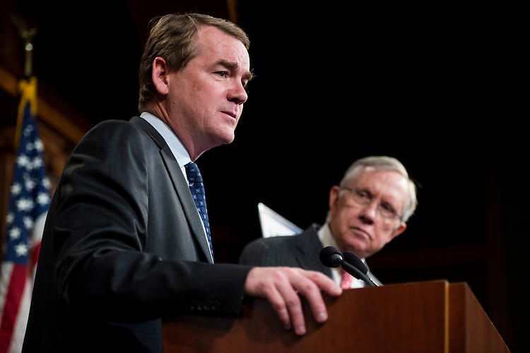 "UNITED STATES - MARCH 26: Sen. Michael Bennet, D-Colo.,  speaks during the Senate Democrats' news conference to unveil ""A Fair Shot for Everyone"" agenda on Wednesday, March 26, 2014. (Photo By Bill Clark/CQ Roll Call)"