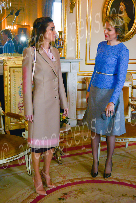 Queen Mathilde of Belgium received the breakfast Queen Rania al-Yassin of Jordan at the Royal Palace in Brussels, January 12, 2016, Brussels, Belgium