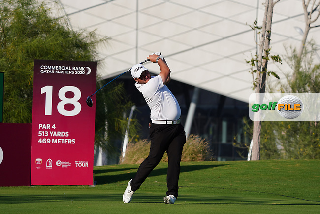 Zander Lombard (RSA) on the 18th during Round 1 of the Commercial Bank Qatar Masters 2020 at the Education City Golf Club, Doha, Qatar . 05/03/2020<br /> Picture: Golffile | Thos Caffrey<br /> <br /> <br /> All photo usage must carry mandatory copyright credit (© Golffile | Thos Caffrey)