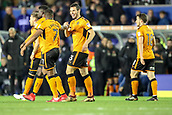4th December 2017, St. Andrews Stadium, Birmingham, England; EFL Championship football, Birmingham City versus Wolverhampton Wanderers; Léo Bonatini of Wolverhampton Wanderers celebrates with his team mates after scoring in the 8th minute to make it 1-0 to Wolverhampton Wanderers