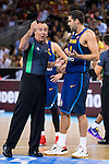 Spain's basketball playerFelipe Reyes talking with the referee during the  match of the preparation for the Rio Olympic Game at Madrid Arena. July 23, 2016. (ALTERPHOTOS/BorjaB.Hojas)