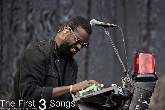Tunde Adebimpe of TV on the Radio performs during Day 3 of the Voodoo Experience at City Park in New Orleans, Louisiana on October 30, 2011.