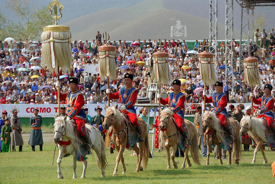 Ulaanbaatar, Mongolia, July 2003..Opening ceremony of the national Naadam at Ulaanbaatar central stadium.