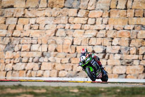 02.04.2016. Motorland, Aragon, Spain. World Championship Motul FIM of Superbikes.  Jonathan Rea #1, Kawasaki ZX-10R rider of Superbike  in action during the race  in the World Championship Motul FIM of Superbikes from the Circuito de Motorland.