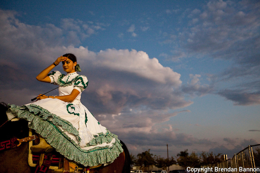 Jiselle Bonilla of Escaramuza Las Gazelas, a group of women side saddle horse riders at the Kern County Fair.